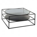 metal coffee table with yoho glass, black