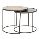table cafe metal / bois basile x2, couleurs assort
