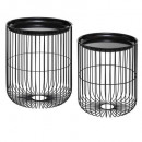 black wire metal table x2, black