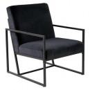 fauteuil en velours noir contemp, noir