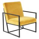 fauteuil en velours ocre contemp, ocre
