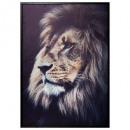 groothandel Woondecoratie: gedrukt canvas / zwarte leeuw 48x68, zwart