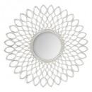 mdf mirror silver flower d90, silver