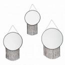 miroir ronde chaine frange x3, noir