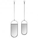 oval mirror hanging x2, black