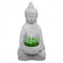 wholesale Figures & Sculptures: votive candle buddha cement h15, gray