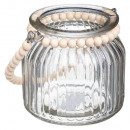 tealight glass beads cozy h10, transparent