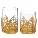 set x2 tealight gold leaf, 2- times assorted , co