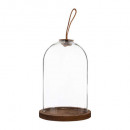cloche verre cuir h20,5 colonial, transparent