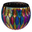 round tealight glass h8,5 peacock, multicolored