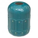 jarrón de cerámica h16 pavo real, azul