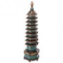 pagoda deco resina h50cm, multicolor