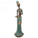 african resin statue h45cm, multicolored