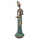 Afrikaans kunstharsstandbeeld h45cm, veelkleurig