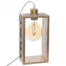 Lámpara de madera iwata rectángulo h28, beige.