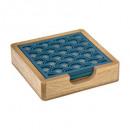 bajo vaso madera x4 pavo real, pato azul