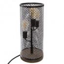 lámpara de torre de madera / metal m h47, negra