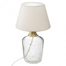 crackled glass lamp metal sila, beige