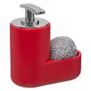 dispensador de jabón + esponja roja mate, roja