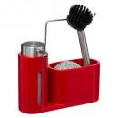 dispensador de jabón + esponja + cepillo rge, rojo