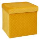 Puf 31x31 plegable terciopelo amarillo gris