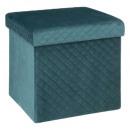 Zusammenklappbarer Sitzpuff 31x31 Samt blau, blau