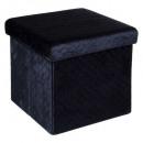 31x31 összecsukható puff bársony sötétkék