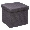 pouf 31x31 foldable polyester gf, dark gray