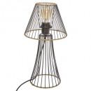 metalen lamp + rotan h38,5cm, zwart