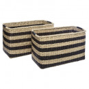 basket rect. stripe x2, multicolored