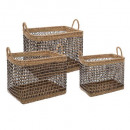 baskets rect. openwork x3, medium beige