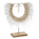 collar de plumas ritual h40, blanco