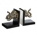 bookend elephant grave x2, black & white