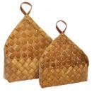canasta de madera triangular loft x2, marrón