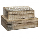 caja de decoración ritual rectangular de madera x2