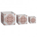 cache pot pink cim square x3, 2- times assorted ,