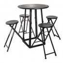 table with 4 outdoor chairs d77.5, black & whi