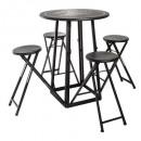 tafel met 4 buitenstoelen d77.5, zwart en wit