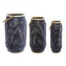 set x3 lantaarns bamboe kruis, donkerblauw