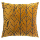 Pillow in velvet embroider on oc 40x40, ocher