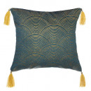 Pillow in velvet glitter bl 40x40, blue
