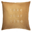 Pillow in velvet brod slow oc 50x50, ocher