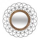 metal / wood mirror flower d90, black