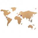 wereldkaart Luik 102x50, beige