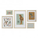 conjunto de 5 marcos de madera / blanco, beige