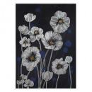 gedrukt canvas / bloemen 50x70, blauw
