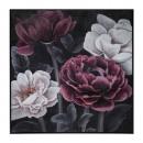 canvas pei / cad bloem zwart 58x58, veelkleurig
