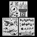 wholesale Business Equipment: christmas stencil x3 - 42x37 cm, 3- times assorted