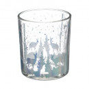 wholesale Pictures & Frames: hot foret glass candle holder d8.8x10 bl