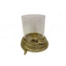 glass candle holder snake base h21cm